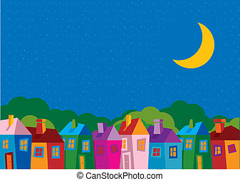 Vector illustration color houses - by night