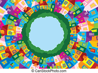 Vector illustration color houses  - houses in circle frame