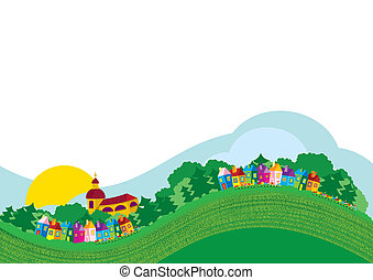 Vector illustration color village - hill, houses, ...