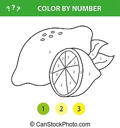 Vector illustration coloring by numbers educational game with cartoon lemon