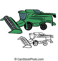 Vector illustration : Combine harvester sketch on a white background.