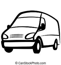 Commercial van - Vector illustration : Commercial van on a...