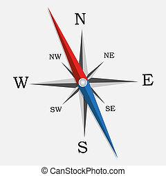 vector, illustration., compass.