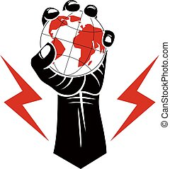 Vector illustration composed using strong muscular raised arm with lightning symbol and holding Earth globe. Authority as the means of global control and manipulation