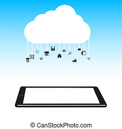 Vector illustration. Concept cloud with computer tablet.