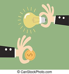 vector illustration concept for crowdfunding, investing into ideas isolated on bright background