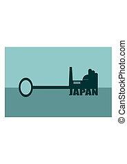 vector illustration concept of a key japan