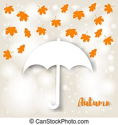 Concept of autumn. White umbrella and falling yellow maple leaves on a beige background with light and bokeh