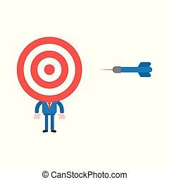 Vector illustration concept of bullseye head businessman character with dart