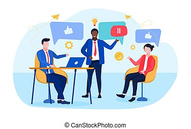 concept of business discussion in social networks