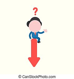 Vector illustration concept of confused faceless businessman character with question mark sitting on arrow moving down