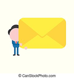 Vector illustration concept of faceless businessman character holding closed envelope