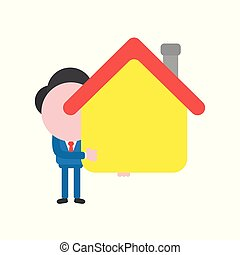 Vector illustration concept of faceless businessman character holding house