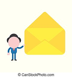 Vector illustration concept of faceless businessman character holding open envelope
