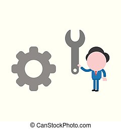 Vector illustration concept of faceless businessman character holding spanner to gear