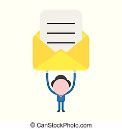 Vector illustration concept of faceless businessman character holding up open envelope with written paper
