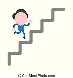 Vector illustration concept of faceless businessman character running up on stairs