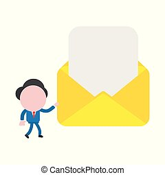 Vector illustration concept of faceless businessman character walking and carrying open envelope with blank paper