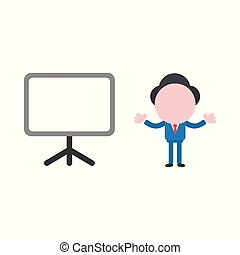 Vector illustration concept of faceless businessman character with blank presentation chart board