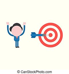 Vector illustration concept of faceless businessman character with bulls eye and dart and hit the mark