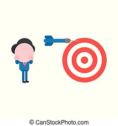 Vector illustration concept of faceless businessman character with bullseye and dart and miss the mark