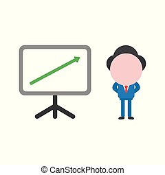 Vector illustration concept of faceless businessman character with presentation chart board and arrow moving up
