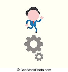 Vector illustration concept of faceless businessman character running on gears