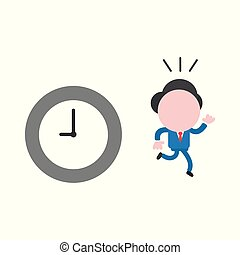 Vector illustration concept of faceless businessman character running away from clock