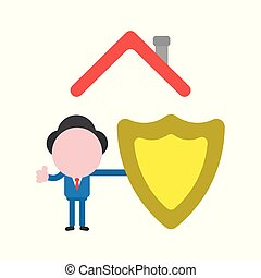 Vector illustration concept of faceless businessman character under house roof with guard shield and showing thumbs up