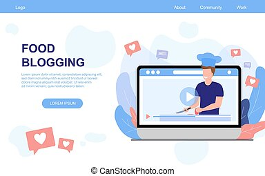 Vector illustration concept of food blogging