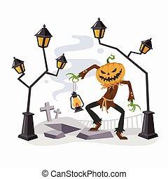 Happy Halloween with Pumpkin Head