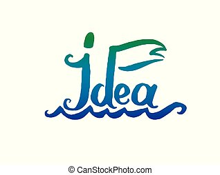 Vector illustration concept of Idea boat word with flag lettering icon.