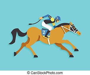 jockey riding race horse number 2 - Vector illustration...