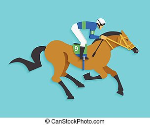 jockey riding race horse number 9 - Vector illustration...
