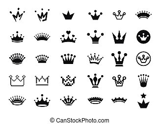 Vector illustration concept of king and princess crown. Icon on white background