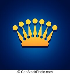 Vector illustration concept of King crown. Icon on blue background