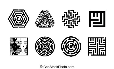 Vector illustration concept of Labyrinth symbol collection. Maze icon set.