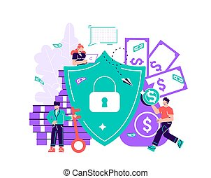Vector illustration, concept of money protection