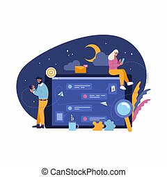 Vector illustration, concept of people communication by mobiles, virtual chat at night, relationship. Man and woman chatting, receiving messages, big laptop screen. Devices for communication