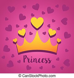 Vector illustration concept of Princess crown with hearts. Icon on pink background