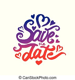 Vector illustration concept of Save the date lettering icon.
