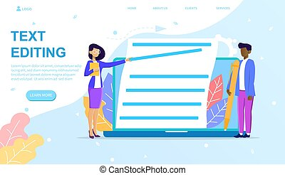 Vector illustration concept of text editing. Copywriter is writing and editing text works
