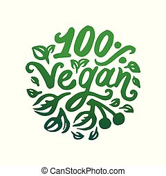 Vector illustration concept of Vegan word green lettering icon.