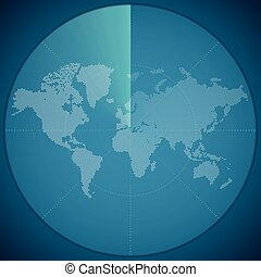 Vector illustration concept of world map on digital sonar...