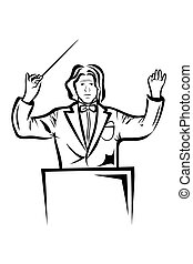 Vector illustration :Conductor on a white background.