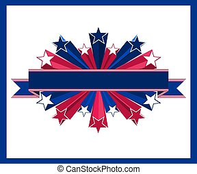 Vector illustration consisting in ribbon and 3d star with American flag colours.