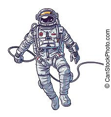 Vector illustration cosmonaut, astronaut on a white...