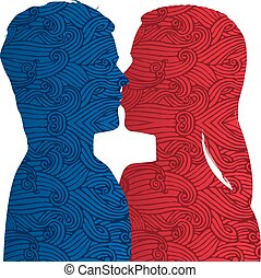 Vector illustration. Couple silhouette kiss with textured effect. Isolated.