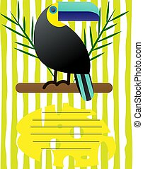Cover for a school notebook with a place for text. With the image of toucan