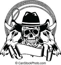 Vector illustration cowboy and skull bull